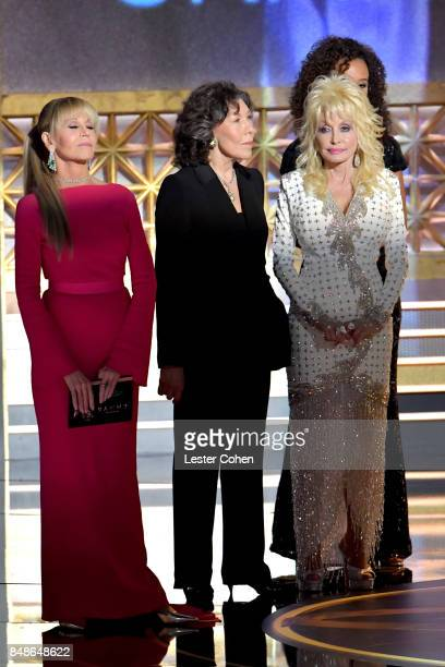Actors Jane Fonda Lily Tomlin and Dolly Parton speak onstage during the 69th Annual Primetime Emmy Awards at Microsoft Theater on September 17 2017...
