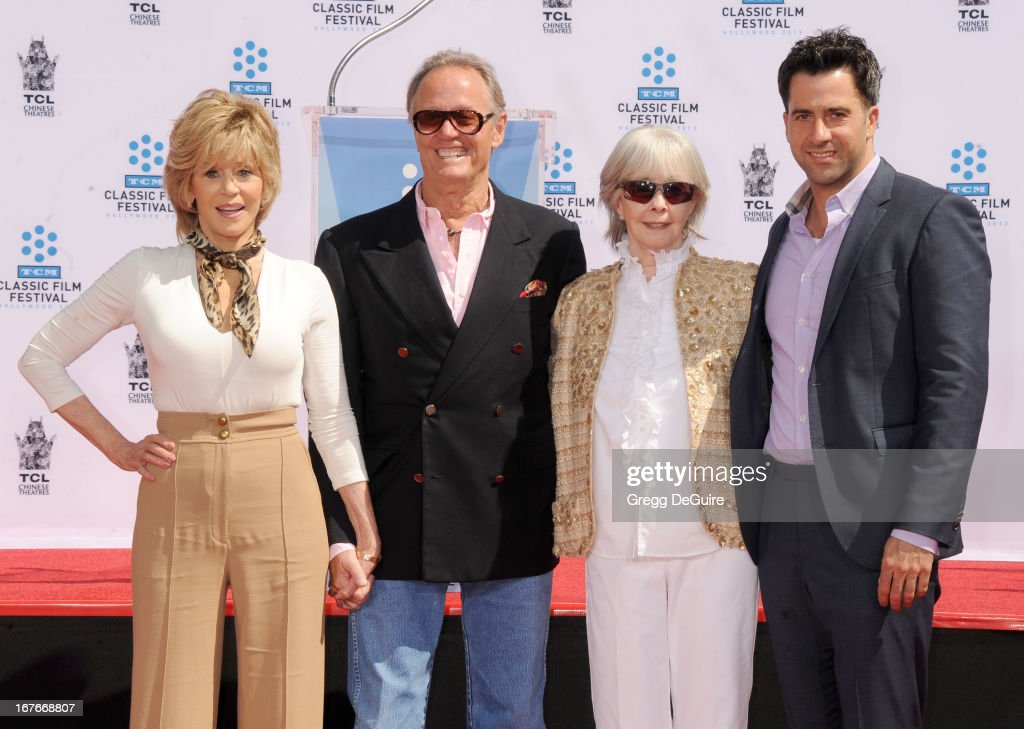 Actors Jane Fonda, Peter Fonda, Shirlee Fonda and Troy Garity pose at Jane Fonda's hand and footprints ceremony at TCL Chinese Theatre on April 27, 2013 in Hollywood, California.