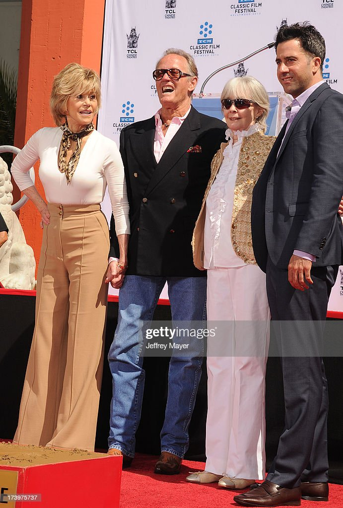 Actors <a gi-track='captionPersonalityLinkClicked' href=/galleries/search?phrase=Jane+Fonda&family=editorial&specificpeople=202174 ng-click='$event.stopPropagation()'>Jane Fonda</a>, <a gi-track='captionPersonalityLinkClicked' href=/galleries/search?phrase=Peter+Fonda&family=editorial&specificpeople=213498 ng-click='$event.stopPropagation()'>Peter Fonda</a>, Shirlee Mae Adams and <a gi-track='captionPersonalityLinkClicked' href=/galleries/search?phrase=Troy+Garity&family=editorial&specificpeople=549591 ng-click='$event.stopPropagation()'>Troy Garity</a> attend actress <a gi-track='captionPersonalityLinkClicked' href=/galleries/search?phrase=Jane+Fonda&family=editorial&specificpeople=202174 ng-click='$event.stopPropagation()'>Jane Fonda</a>'s Handprint/Footprint Ceremony during the 2013 TCM Classic Film Festival at TCL Chinese Theatre on April 27, 2013 in Los Angeles, California.
