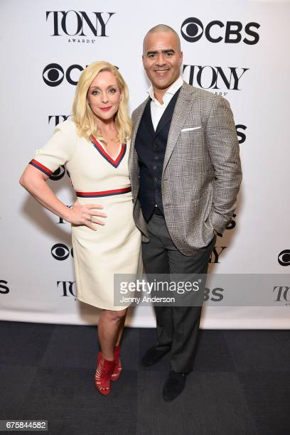 Actors Jane Krakowski and Christopher Jackson attend the 2017 Tony Awards Nominations Announcement at the The New York Public Library for the...