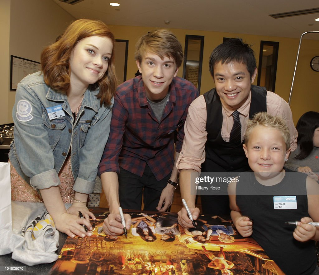 Actors Jane Levy Jackson Nicoll Osric Chau and Thomas Mann attend 'Fun Size' Special Screening At Children's Hospital Los Angeles at Childrens...