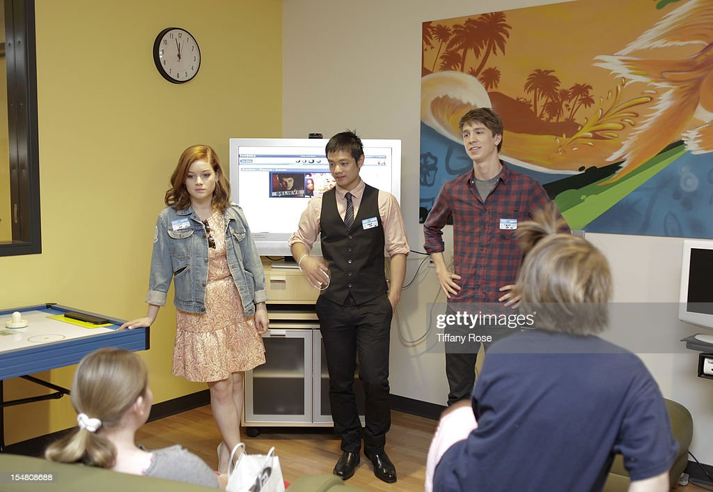 Actors Jane Levy Osric Chau and Thomas Mann meet patients at 'Fun Size' Special Screening At Children's Hospital Los Angeles at Childrens Hospital Of...
