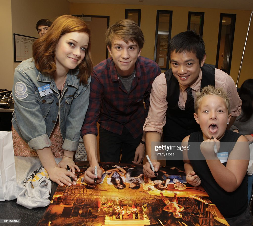 Actors Jane Levy Thomas Mann Osric Chau and Jackson Nicoll attend 'Fun Size' Special Screening At Children's Hospital Los Angeles at Childrens...