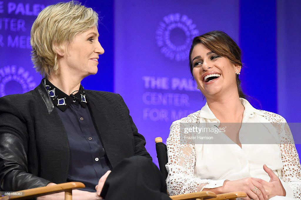 Actors Jane Lynch and Lea Michele on stage at The Paley Center For Media's 32nd Annual PALEYFEST LA 'Glee' at Dolby Theatre on March 13 2015 in...