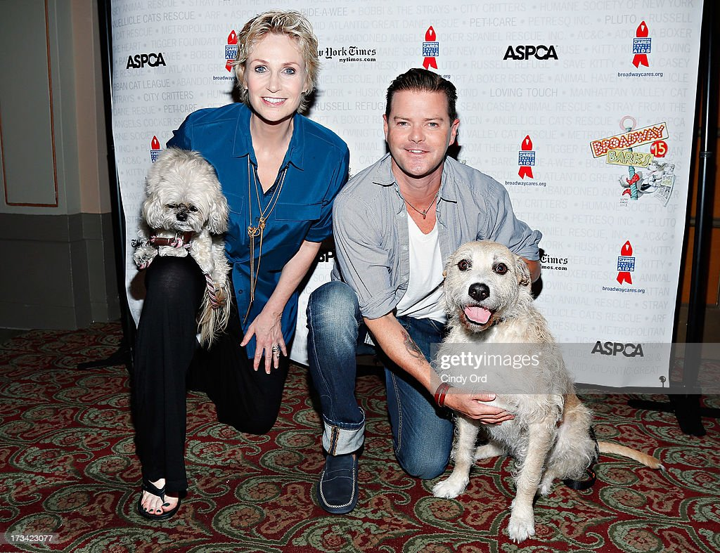 Actors Jane Lynch, Clarke Thorell and Sandy attend the Broadway Barks 15th Animal Adoption Event at Shubert Alley on July 13, 2013 in New York City.