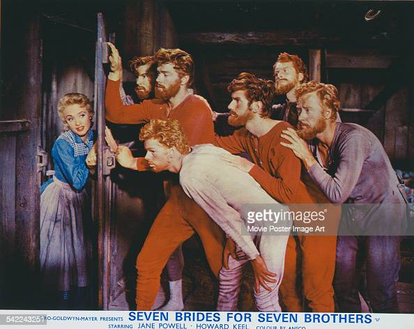Actors Jane Powell and Russ Tamblyn appears on the poster for the MGM film 'Seven Brides For Seven Brothers' 1954