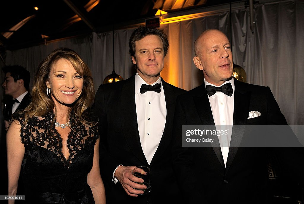 Actors Jane Seymour, Colin Firth and Bruce Willis attend The Weinstein Company and Relativity Media's 2011 Golden Globe After Awards Party presented by Marie Claire held at The Beverly Hilton hotel on January 16, 2011 in Beverly Hills, California.