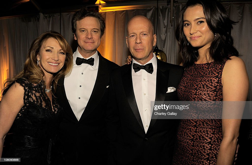 Actors Jane Seymour,<a gi-track='captionPersonalityLinkClicked' href=/galleries/search?phrase=Colin+Firth&family=editorial&specificpeople=201620 ng-click='$event.stopPropagation()'>Colin Firth</a>, <a gi-track='captionPersonalityLinkClicked' href=/galleries/search?phrase=Bruce+Willis&family=editorial&specificpeople=202185 ng-click='$event.stopPropagation()'>Bruce Willis</a> and wife <a gi-track='captionPersonalityLinkClicked' href=/galleries/search?phrase=Emma+Heming&family=editorial&specificpeople=734062 ng-click='$event.stopPropagation()'>Emma Heming</a> attend The Weinstein Company and Relativity Media's 2011 Golden Globe After Awards Party presented by Marie Claire held at The Beverly Hilton hotel on January 16, 2011 in Beverly Hills, California.