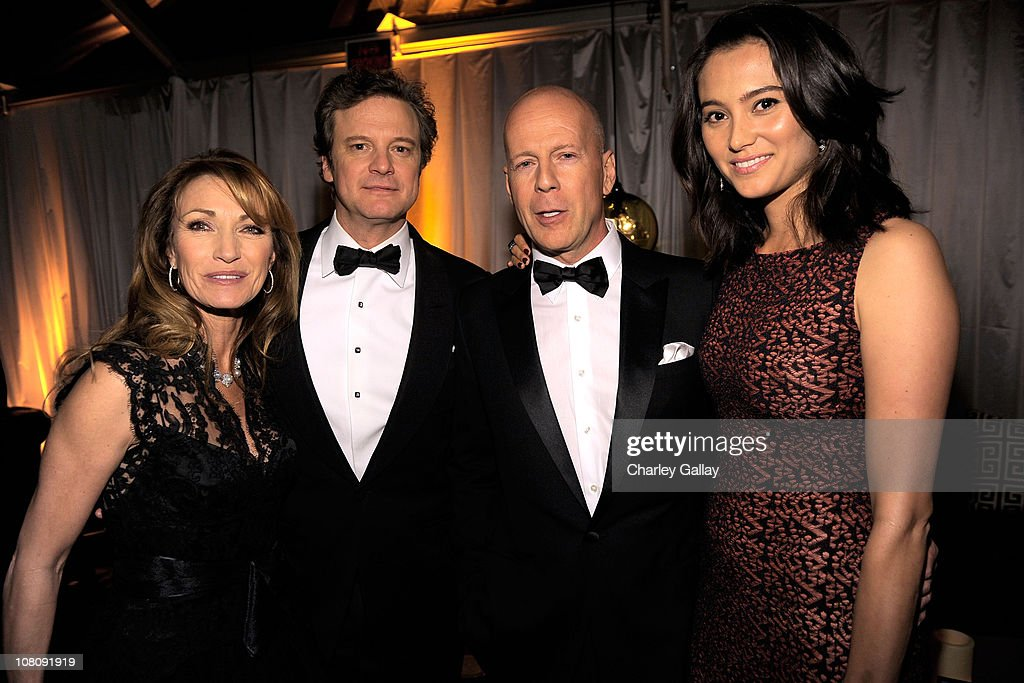 Actors Jane Seymour,Colin Firth, Bruce Willis and wife Emma Heming attend The Weinstein Company and Relativity Media's 2011 Golden Globe After Awards Party presented by Marie Claire held at The Beverly Hilton hotel on January 16, 2011 in Beverly Hills, California.