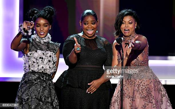 Actors Janelle Monae Octavia Spencer and Taraji P Henson speak onstage during The 23rd Annual Screen Actors Guild Awards at The Shrine Auditorium on...