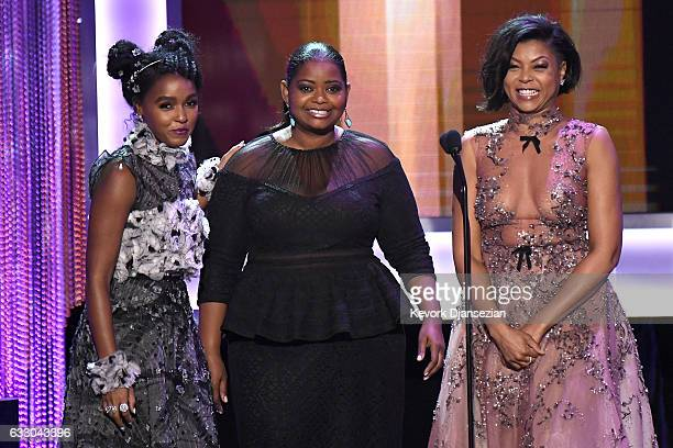 Actors Janelle Monae Octavia Spencer and Taraji P Henson speak onstage during the 23rd Annual Screen Actors Guild Awards at The Shrine Expo Hall on...