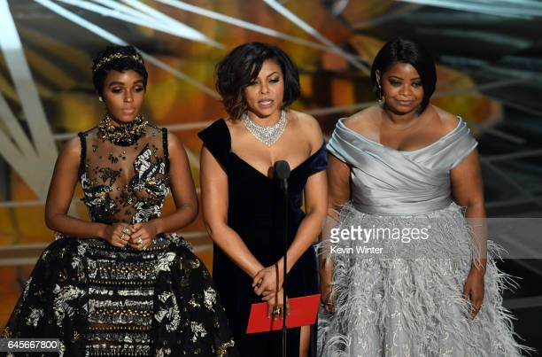 Actors Janelle Monae Taraji P Henson and Octavia Spencer speak onstage during the 89th Annual Academy Awards at Hollywood Highland Center on February...