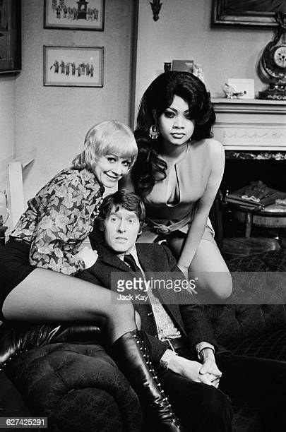 Actors Janet Mahoney Michael Crawford and Vicki Richards rehearsing Alistair Foot and Anthony Marriott's farce 'No Sex Please We're British' London...
