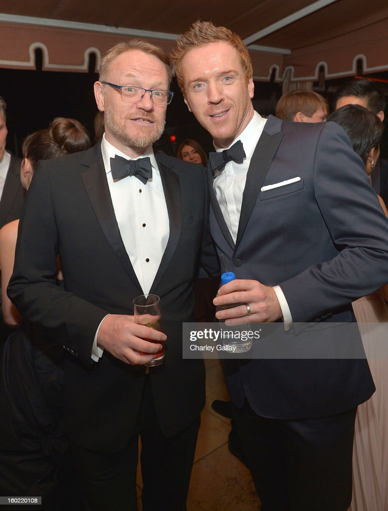 Actors <a gi-track='captionPersonalityLinkClicked' href=/galleries/search?phrase=Jared+Harris&family=editorial&specificpeople=228170 ng-click='$event.stopPropagation()'>Jared Harris</a> (L) and <a gi-track='captionPersonalityLinkClicked' href=/galleries/search?phrase=Damian+Lewis&family=editorial&specificpeople=206939 ng-click='$event.stopPropagation()'>Damian Lewis</a> attend The Weinstein Company's SAG Awards After Party Presented By FIJI Water at Sunset Tower on January 27, 2013 in West Hollywood, California.