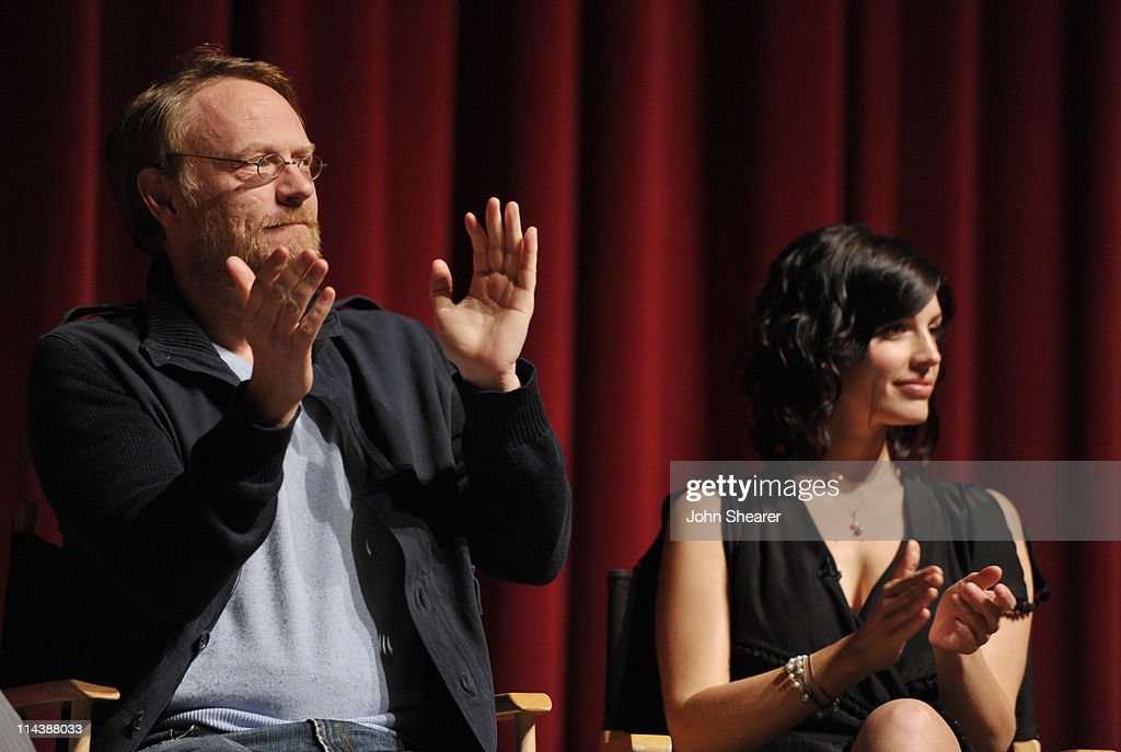 Actors <a gi-track='captionPersonalityLinkClicked' href=/galleries/search?phrase=Jared+Harris&family=editorial&specificpeople=228170 ng-click='$event.stopPropagation()'>Jared Harris</a> and Jessica Paré on stage at the 'Mad Men' ATAS Screening at Leonard Goldenson Theatre on May 18, 2011 in North Hollywood, California.