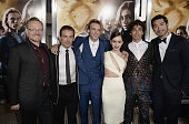 Actors Jared Harris Kevin Zegers Jamie Campbell Bower Lily Collins Robert Sheehan and Godfrey Gao attend the premiere of Screen Gems Constantin...