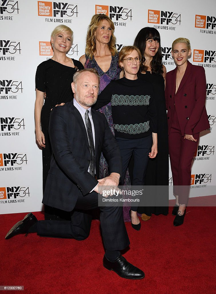 Actors Jared Harris, Michelle Williams, Laura Dern, Lily Gladstone and Kristen Stewart pose with Director Kelly Reichardt (C) at the 'Certain Women' premiere during the 54th New York Film Festival at Alice Tully Hall, Lincoln Center on October 3, 2016 in New York City.