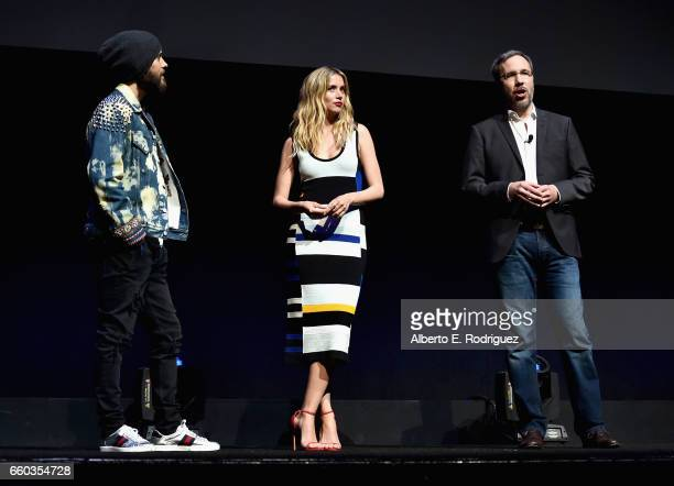 """Actors Jared Leto Ana De Armas and director Denis Villeneuve at CinemaCon 2017 Warner Bros Pictures Invites You to """"The Big Picture"""" an Exclusive..."""