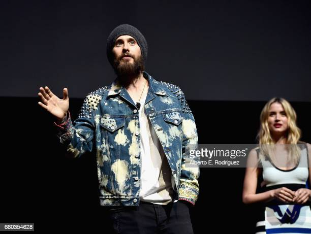 """Actors Jared Leto and Ana De Armas speak onstage at CinemaCon 2017 Warner Bros Pictures Invites You to """"The Big Picture"""" an Exclusive Presentation of..."""
