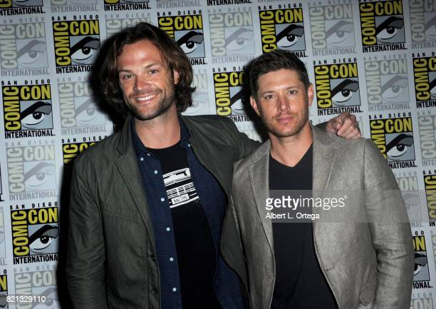 Actors Jared Padalecki and Jensen Ackles at the 'Supernatural' panel during ComicCon International 2017 at San Diego Convention Center on July 23...