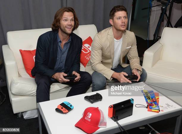Actors Jared Padalecki and Jensen Ackles from the television series 'Supernatural' stopped by Nintendo at the TV Insider Lounge to check out Nintendo...