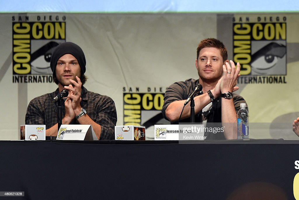 Actors Jared Padalecki (L) and Jensen Ackles speak onstage at the 'Supernatural' panel during Comic-Con International 2015 at the San Diego Convention Center on July 12, 2015 in San Diego, California.