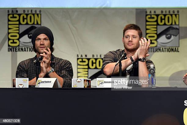 Actors Jared Padalecki and Jensen Ackles speak onstage at the 'Supernatural' panel during ComicCon International 2015 at the San Diego Convention...