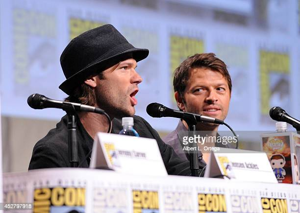 Actors Jared Padalecki and Misha Collins attend CW's 'Supernatural' Panel during ComicCon International 2014 at San Diego Convention Center on July...