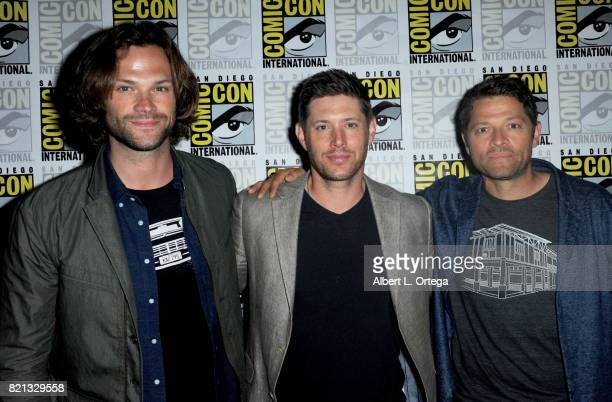 Actors Jared Padalecki Jensen Ackles and Misha Collins at the 'Supernatural' panel during ComicCon International 2017 at San Diego Convention Center...