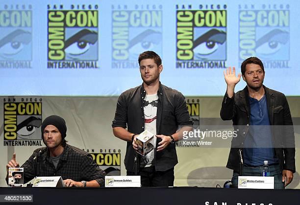 Actors Jared Padalecki Jensen Ackles and Misha Collins speak onstage at the 'Supernatural' panel during ComicCon International 2015 at the San Diego...