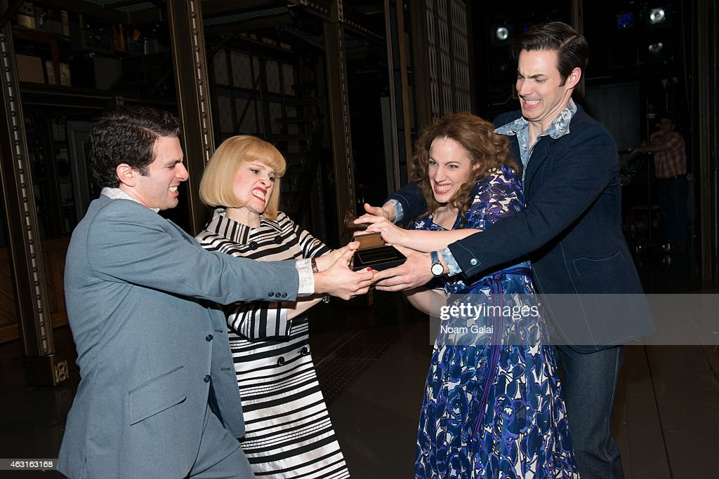 Actors Jarrod Spector Anika Larsen Jessie Mueller and Scott J Campbell of 'Beautful The Carole King Musical' celebrate their Grammy win with Carole...