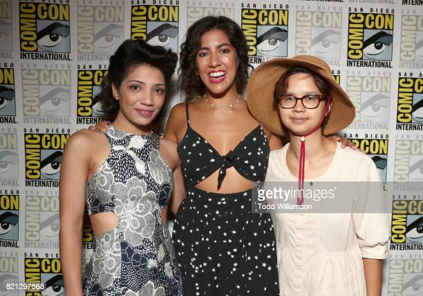 Actors Jasika Nicole Stephanie Beatriz and Charlyne Yi from 'Danger Eggs' at Amazon's KIDS PRESS ROOM Panel during ComicCon International 2017 on...