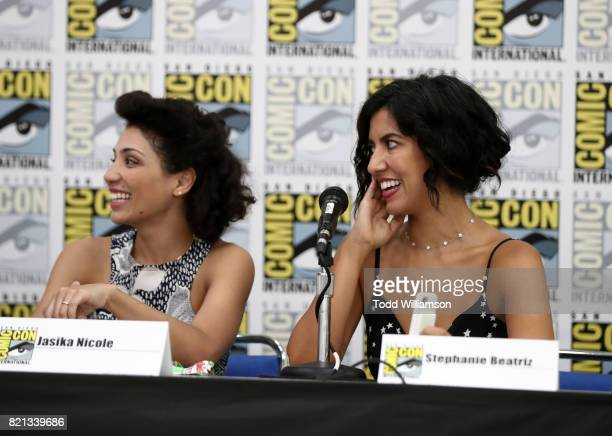 Actors Jasika Nicole Stephanie Beatriz attend Amazon's KIDS JOINT signing area during San Diego ComicCon International 2017 at the San Diego...