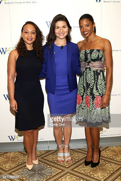 Actors Jasmine Cephas Jones Phillipa Soo and Renee Elise Goldsberry attends The 6th Annual Elly Awards at The Plaza Hotel on June 20 2016 in New York...