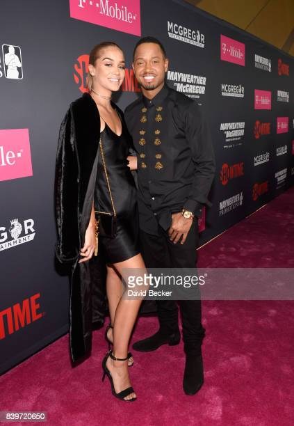 Actors Jasmine Sanders and Terrence J arrive on TMobile's magenta carpet duirng the Showtime WME IME and Mayweather Promotions VIP PreFight Party for...