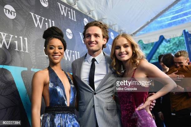 Actors Jasmine Savoy Brown Laurie Davidson and Oliva DeJonge attend TNT's Season One 'Will' Premiere at Bryant Park on June 27 2017 in New York City...