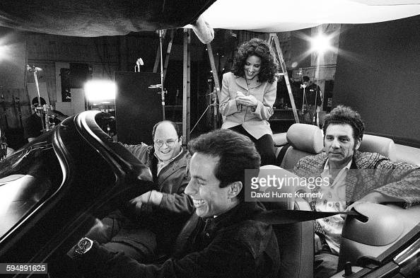 Actors Jason Alexander Jerry Seinfeld Julia LouisDreyfus and Michael Richards on set in the final days of shooting the hit tv show 'Seinfeld' April 3...
