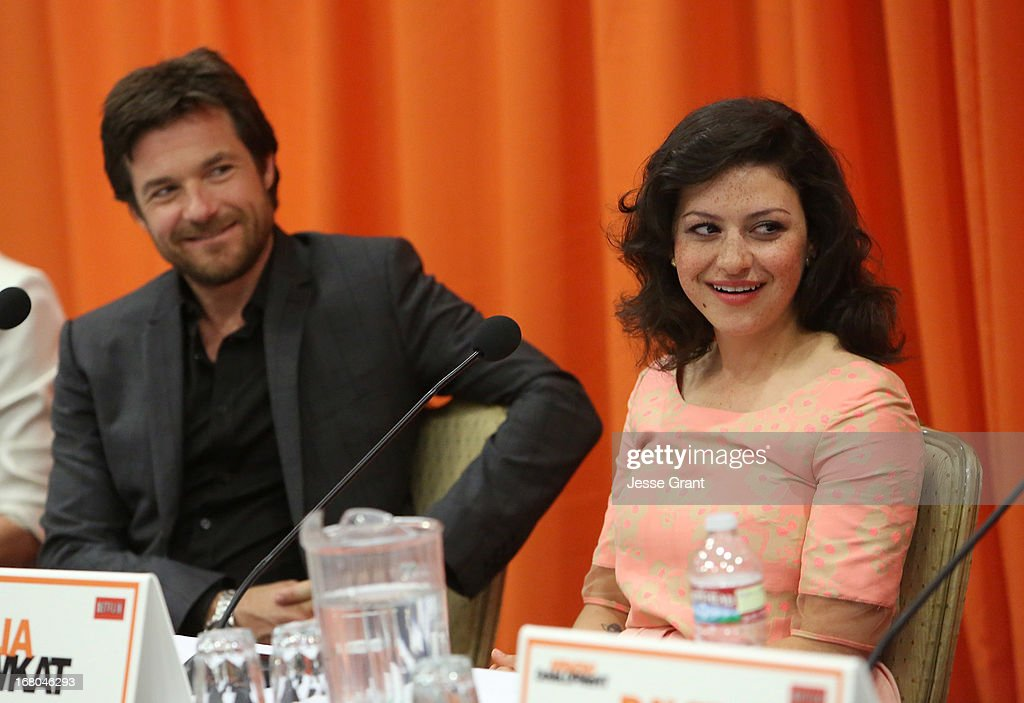 Actors <a gi-track='captionPersonalityLinkClicked' href=/galleries/search?phrase=Jason+Bateman&family=editorial&specificpeople=204774 ng-click='$event.stopPropagation()'>Jason Bateman</a> and <a gi-track='captionPersonalityLinkClicked' href=/galleries/search?phrase=Alia+Shawkat&family=editorial&specificpeople=206872 ng-click='$event.stopPropagation()'>Alia Shawkat</a> attend The Netflix Original Series 'Arrested Development' Press Conference at Sheraton Universal on May 4, 2013 in Universal City, California.