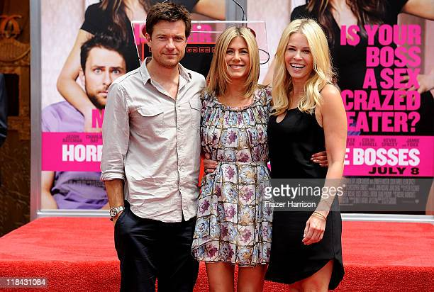 Actors Jason Bateman Jennifer Aniston and Chelsea Handler attend Jennifer Aniston's Hand And Footprint Ceremony at Grauman's Chinese Theatre on July...