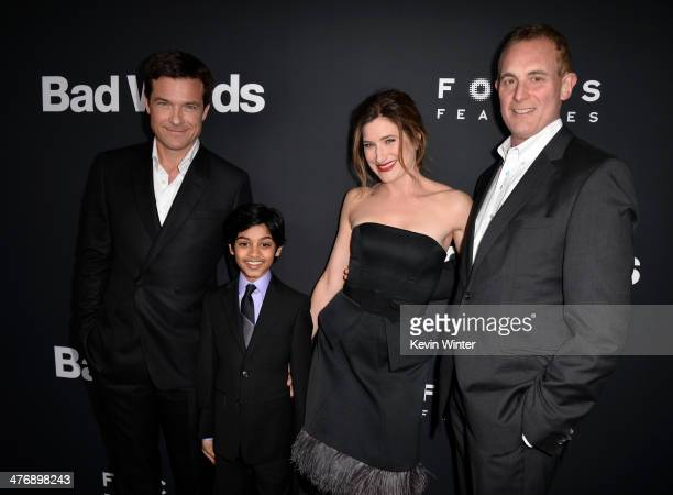 Actors Jason Bateman Rohan Chand Kathryn Hahn and Focus Features CEO Peter Schlessel arrive at the premiere of Focus Features' 'Bad Words' at...
