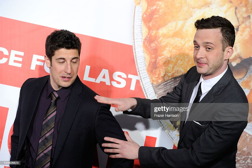 Actors Jason Biggs and Eddie Kaye Thomas arrives at the Premiere of Universal Pictures' 'American Reunion' at Grauman's Chinese Theatre on March 19...