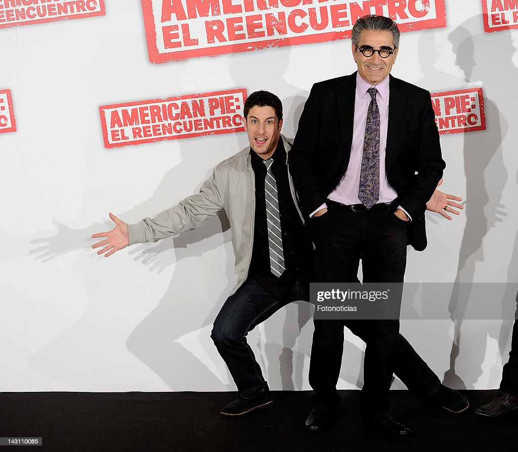 Actors <a gi-track='captionPersonalityLinkClicked' href=/galleries/search?phrase=Jason+Biggs+-+Actor&family=editorial&specificpeople=210701 ng-click='$event.stopPropagation()'>Jason Biggs</a> and <a gi-track='captionPersonalityLinkClicked' href=/galleries/search?phrase=Eugene+Levy&family=editorial&specificpeople=215201 ng-click='$event.stopPropagation()'>Eugene Levy</a> attend a photocall for 'American Pie: Reunion' (American Pie: El Reencuentro) at the Villamagna Hotel on April 19, 2012 in Madrid, Spain.