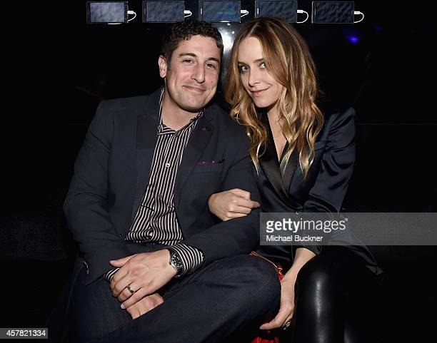 Actors Jason Biggs and Jenny Mollen attend The Note Pad Powered by the Samsung Galaxy Note 4 on October 24 2014 in Los Angeles California