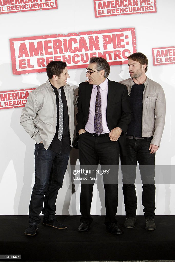 Actors Jason Biggs, Eugene Levy and Seann William Scott attend 'American Pie: Reunion' (American Pie: El Reencuentro) photocall at Villamagna Hotel on April 19, 2012 in Madrid, Spain.