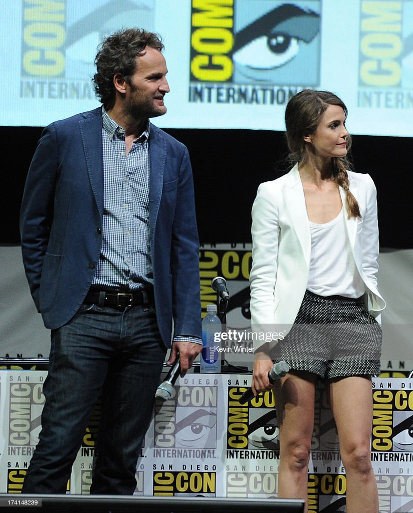 Actors Jason Clarke (L) and Keri Russell speak onstage at the 20th Century Fox 'Dawn of the Planet of the Apes' panel during Comic-Con International 2013 at San Diego Convention Center on July 20, 2013 in San Diego, California.