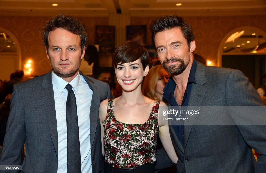 Actors Jason Clarke, Anne Hathaway and Hugh Jackman attend the 13th Annual AFI Awards at Four Seasons Los Angeles at Beverly Hills on January 11, 2013 in Beverly Hills, California.