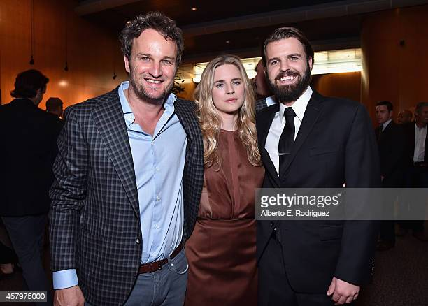 Actors Jason Clarke Brit Marling and writer/director AJ Edwards attend the premiere of Amplify's 'The Better Angels' at DGA Theater on October 27...