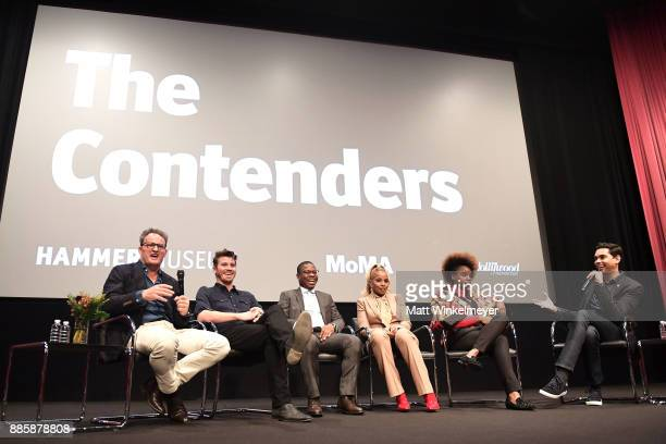 Actors Jason Clarke Garrett Hedlund Jason Mitchell Mary J Blige and director Dee Rees and MoMA Chief Curator of Film Rajendra Roy speaks onstage...