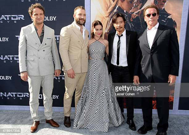Actors Jason Clarke Jai Courtney Emilia Clarke Byunghun Lee and Arnold Schwarzenegger attend the premiere pf Paramount Pictures' 'Terminator Genisys'...