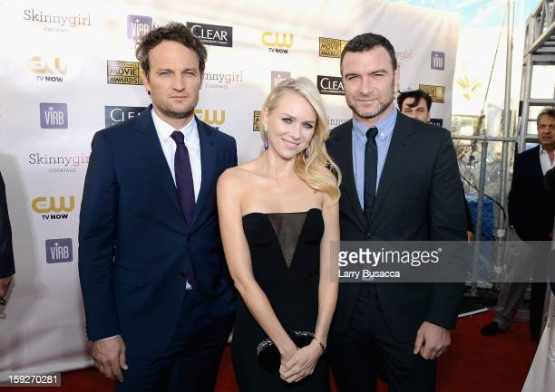 Actors Jason Clarke Naomi Watts and Liev Schreiber attend the 18th Annual Critics' Choice Movie Awards held at Barker Hangar on January 10 2013 in...